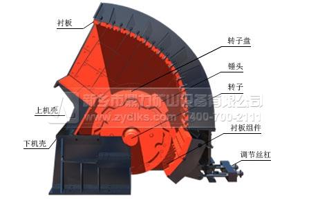 机结构,转子连接锤头,电机带动转子运转,上下机壳包裹内部转子配件